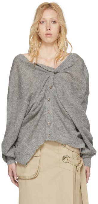 Y/Project Grey Mohair Draped Cardigan