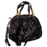 Gucci Black Leather Handbag Bamboo