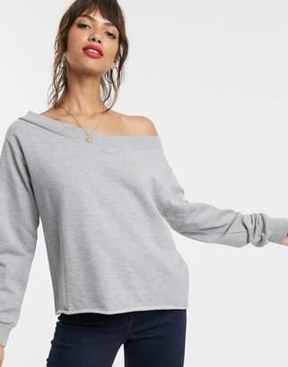 Asos Design DESIGN off shoulder oversized sweatshirt in gray marl