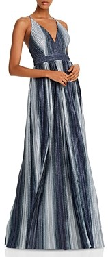Aqua Striped Lurex Gown - 100% Exclusive
