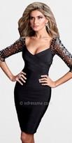 Terani Couture Black Illusion Jeweled Sleeve Evening Dresses