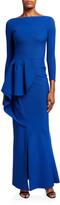 Chiara Boni Boat-Neck Long-Sleeve Asymmetric Tulip Peplum Gown