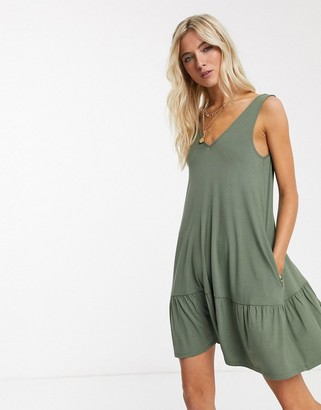 ASOS DESIGN concealed pocket mini dress with tiered hem in Khaki