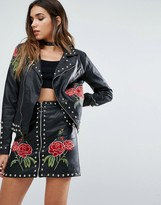 Missguided Leather Look Biker Jacket With Studs And Rose Embroidery