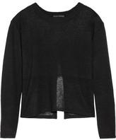 Alice + Olivia Andora Open Knit-Paneled Linen Sweater
