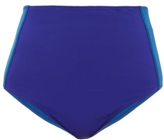 Araks Yumi Two-tone High-rise Bikini Briefs - Womens - Blue Multi