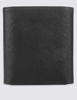 M&S Collection Leather Saffiano Tri Fold Coin Wallet with CardsafeTM