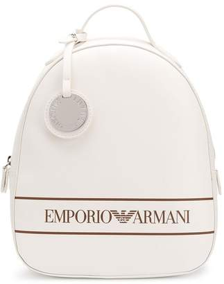Emporio Armani Logo Print Faux-Leather Backpack