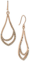 Carolee Rose Gold-Tone Pavé Drop Hoop Earrings