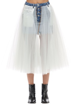 Unravel TULLE & COTTON DENIM MIDI SKIRT
