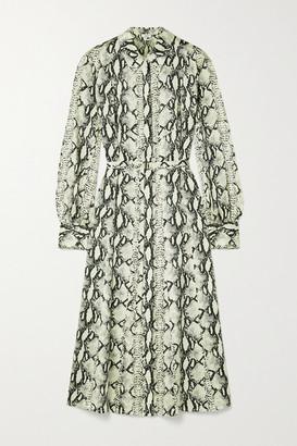Jason Wu Belted Snake-print Silk-satin Midi Shirt Dress - Snake print