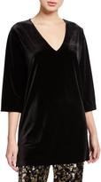 Joan Vass Plus Size V-Neck 3/4-Sleeve Velvet Easy Tunic