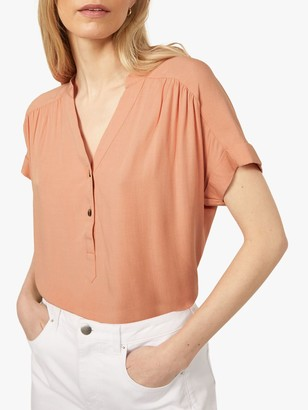 Warehouse Button Front V-Neck Top, Coral