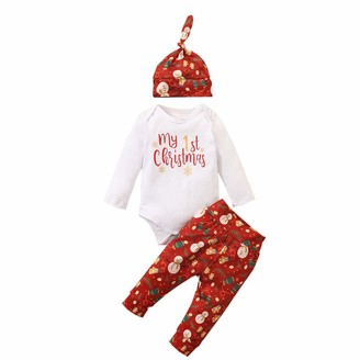 Miaouyo Newborn Baby Boy Girl Romper Outfits My First Christmas Bodysuit + Print Pants + Beanie Knot Hat 3Pcs Infant Christmas Pajamas Outfits Set (Red 6-12 Months)