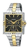 Pulsar Women's PYR046 Dress Sport Square Black Dial Two-Tone Watch