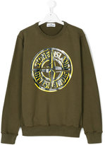 Stone Island Junior Teen logo print sweatshirt