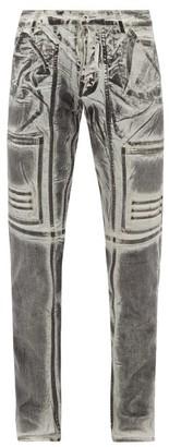 Rick Owens Nagakin Printed Stretch Cotton-blend Jeans - Black White