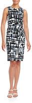 Eliza J Brushstroke-Print Sheath Dress