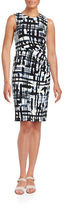 Eliza J Plus Brushstroke-Print Sheath Dress