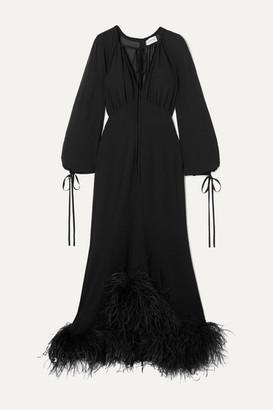 16Arlington Davis Tie-neck Feather-trimmed Chiffon Gown - Black