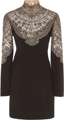 Cucculelli Shaheen Scallop Armor Embroidered Silk Mini Dress