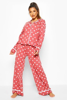 boohoo Polka Dot Button Through Pyjama Trouser Set