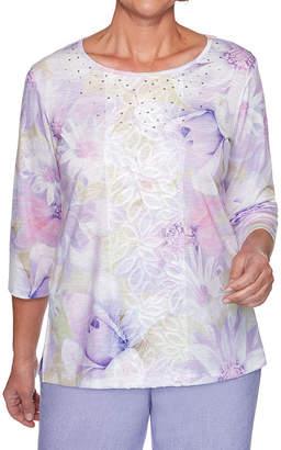 Alfred Dunner Nantucket-Womens Round Neck 3/4 Sleeve T-Shirt