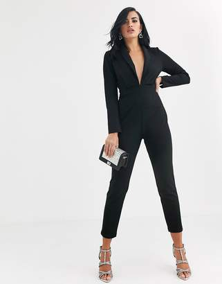 Asos Design DESIGN plunge tux jumpsuit with shoulder pad