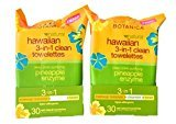Alba Hawaiian 3-in-1 Clean Towelettes, 30 Count, Pack of 2