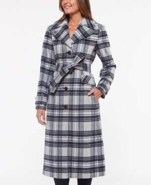 Kate Spade Plaid Belted Coat