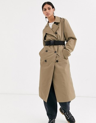 ASOS DESIGN seatbelt trench coat in stone