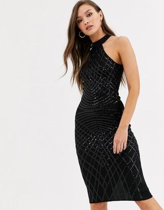 AX Paris high neck sequin mini dress in black