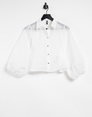 Pieces sheer pinstripe shirt with puff sleeves in white