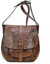 Patricia Nash Burnished Tooled Lace Collection Barcelona Saddle Bag