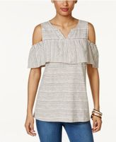 Style&Co. Style & Co Striped Cold-Shoulder Top, Only at Macy's