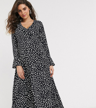 ASOS DESIGN Maternity wrap maxi dress in mono splodge print