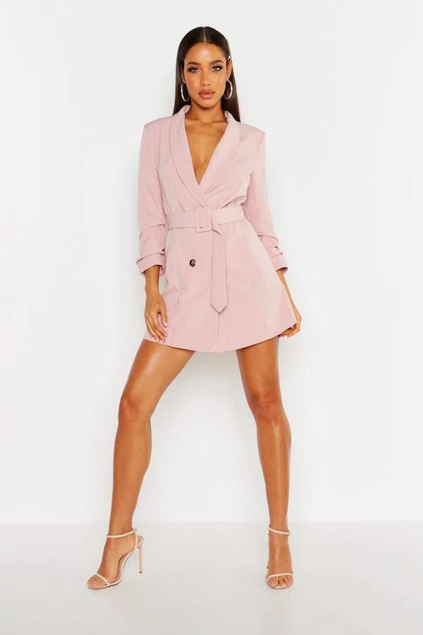 boohoo Belted Button Blazer Dress