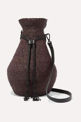 Helen Kaminski Albus Lumen Figura Leather-trimmed Raffia Shoulder Bag - Dark brown