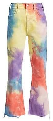 Mother Women's Hustler High-Rise Ankle Crop Fray Rainbow Tie Dye Jeans