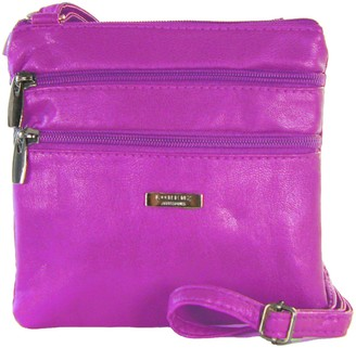 Generic New Womans Leather Style Cross Across Body Shoulder Messenger Bag Zipped (Purple)