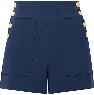Alice + Olivia Alice Olivia - Donald Button-embellished Jersey Shorts - Midnight blue