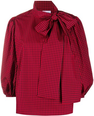 RED Valentino Puff-Sleeve Gingham Blouse