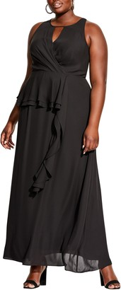 City Chic Cascade Ruffle Maxi Dress