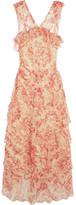 Vilshenko Giovanna Tiered Crinkled Silk-chiffon Midi Dress - Claret