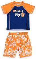 "Baby Buns 2-Piece ""#Surf"" Rashguard Set in Orange/Navy"