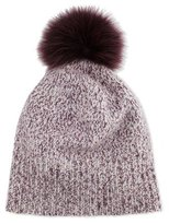 Bergdorf Goodman Marled Cashmere Pompom Beanie Hat, Plum