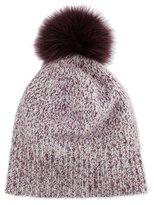 Sofia Cashmere Marled Cashmere Pompom Beanie Hat, Plum
