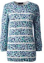 Classic Women's Petite Supima 3/4 Sleeve Print Sweater-Brandywine Ditsy Floral