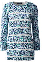Lands' End Women's Tall Supima 3/4 Sleeve Print Sweater-Celestial Blue Floral Stripe