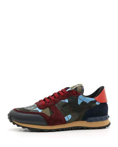 Valentino Men's Rockrunner Camo Trainer Sneakers, Red/Blue
